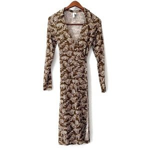 & Other Stories Brown Cheetah Wrap Dress Size 2